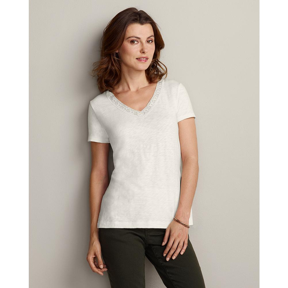 "Eddie Bauer Short-Sleeve Lace V-Neck T-Shirt - A simple jersey T-shirt is transformed with vintage-looking lace trim at the the V-neckline. Layer or wear alone. Classic fit. Length: 26.5"". Imported. - $14.99"