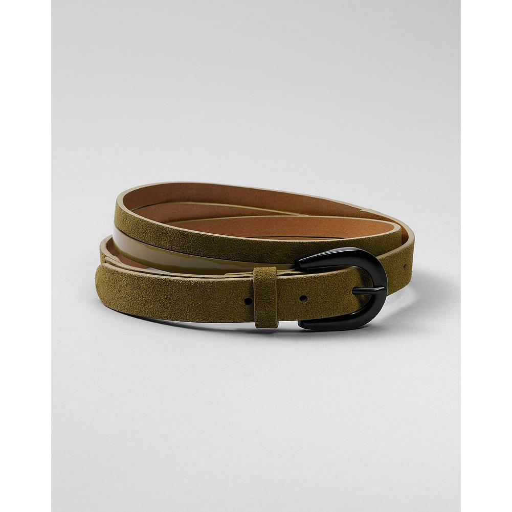 "Eddie Bauer Enamel Buckle Belt - A sleek and sophisticated belt comprised of two thin straps: one is shiny patent leather, the other is suede. Finshed with a glossy enamel buckle. 7/8""W. Imported. - $6.99"