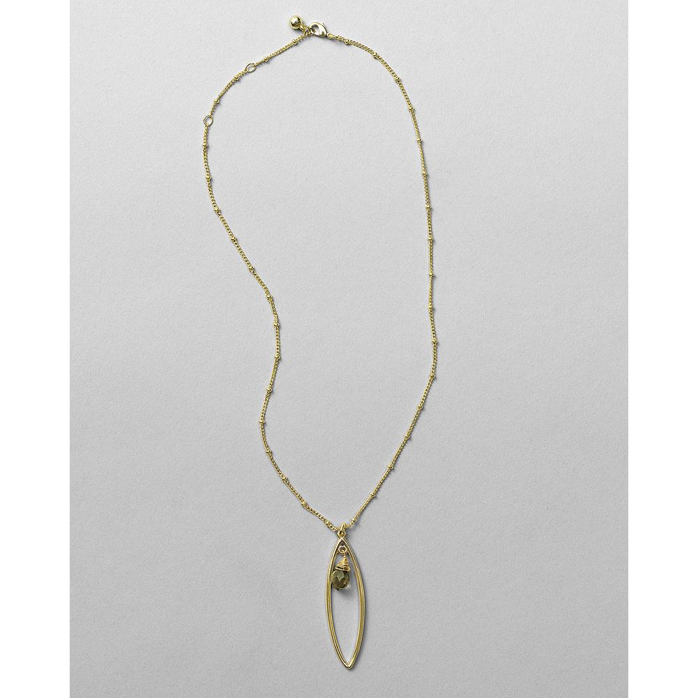 "Entertainment Eddie Bauer Oval Pendant Short Necklace - An elegant oval frames a faceted brown glass bead. Chain is embellished with tiny spaced beads. Pewter/brass. Adjustable length: 16-18"". - $19.99"