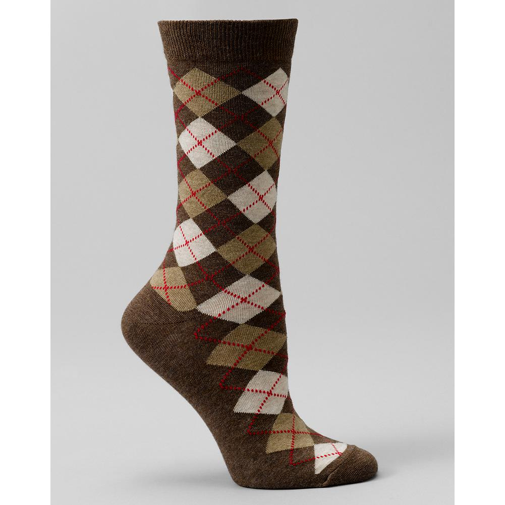 Eddie Bauer Argyle Crew Socks - Soft cotton in a timeless argyle design. Imported. - $3.99