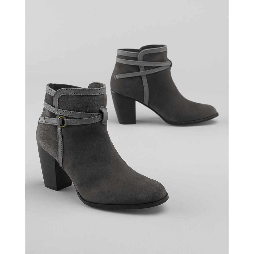 Eddie Bauer Strappy Ankle Boots - Gleaming straps criss-cross and buckle on this cute ankle boot. Suede upper with synthetic leather trim. Cushioned insole. Slip-resistant synthetic sole. Made in Spain. - $39.99