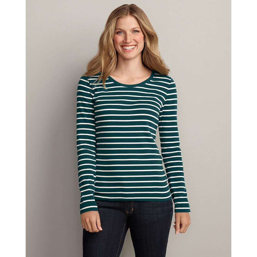 Eddie Bauer Long-Sleeve Favorite Striped Crew - One wearing will convince you that our improved favorite T-shirts are more than just your basics. Better-than-ever combed cotton is treated with a silicone finish to make it ultra-soft, and colors stay bright and true thanks to a special dying process. Shaped fit. Imported. - $6.99