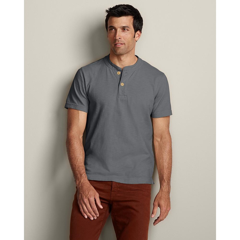 Eddie Bauer Classic-Fit Short-Sleeve Legend Wash Henley - Our special wash gives this jersey henley an exceptionally soft, broken-in feel. Reinforced placket and side vents add durability to a warm-weather favorite. Classic fit. Imported. - $9.99