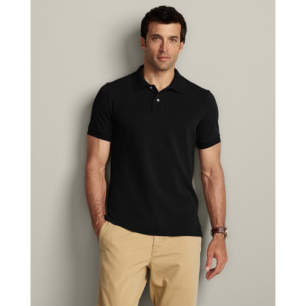 Eddie Bauer Slim Fit Short-Sleeve Field Pique Polo Shirt - Cotton pique resists wrinkles, fading, shrinking and pilling and gives our shirts superior shape retention - including collars that stay flat. Drop-tail hem. Slim fit. Imported. - $29.95