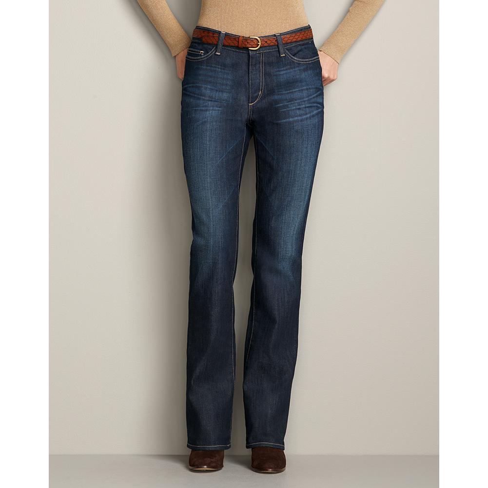 Eddie Bauer Natural Boot Cut Jeans - Standard waist; higher mid-rise. Slightly fuller hip and thigh. Modified hourglass body shape. The boot cut leg shape visually balances out the natural curve of the hips for a perfectly proportioned silhouette. Each pair is handcrafted and original with unique variations in shading and color. Traditional five-pocket styling. Imported. - $29.99