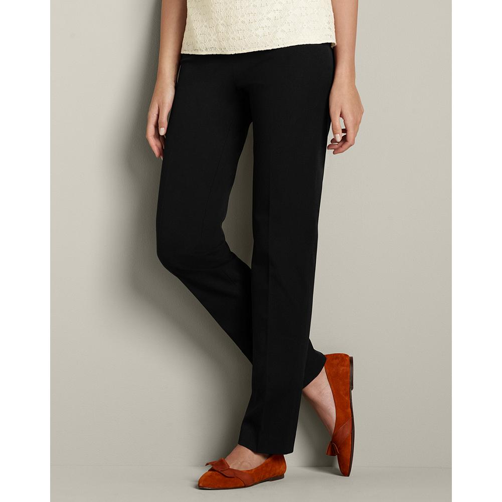 Entertainment Eddie Bauer Bremerton StayShape Stretch Twill Pants - Standard waist; higher mid-rise. Slightly fuller hip and thigh. Modified hourglass body shape. These simple, comfortable pants stand the test of time and trend. Designed with excellent shape retention and two-way stretch comfort, these pants offer an easygoing, dress-casual style. Ideal with tunics or sweaters, they have a hidden full-elastic waistband. Imported. - $59.95