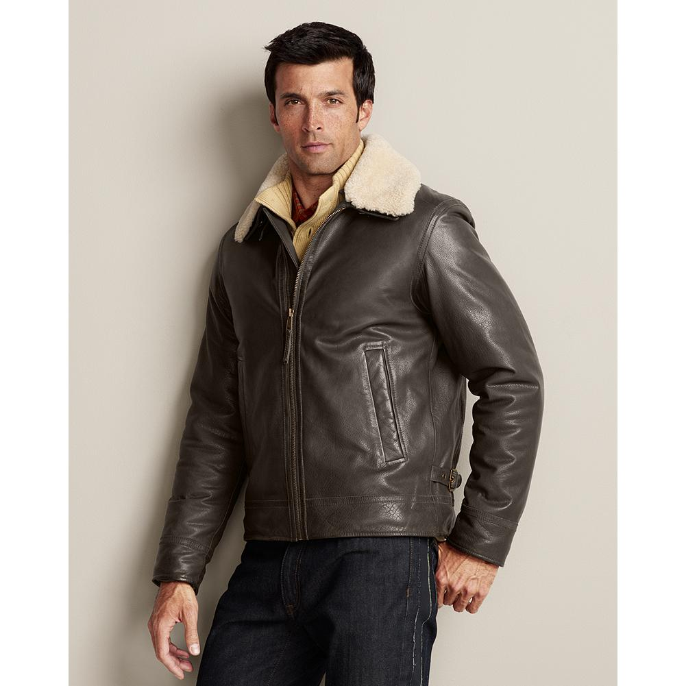 "Entertainment Eddie Bauer Leather Aviator Jacket - Reminiscent of the classic Navy G-1, our aviator jacket is made of supple, full-grain leather and features a removable lamb shearling collar. Action back for unrestricted mobility. Back belt adjusts for a custom fit. Two exterior, two interior pockets. Shearling is dyed for a consistent neutral color. Imported. Length: Size R(M) 27"". - $169.99"