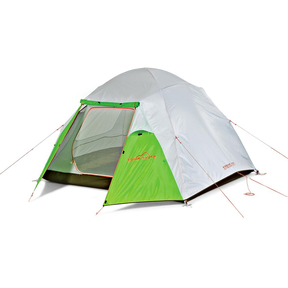 Camp and Hike Eddie Bauer Carbon River 3 Person Tent - Color-coded poles make this oversized tent easy to pitch when energy is spent or daylight is fading. Full rain fly plus two vestibules for extra weather protection and space. Stay organized with the seven interior storage pockets and gear loft, and find your way in easily at night with the glow-in-the-dark zipper and reflective webbing. Guy lines, stakes and pole repair sleeve included. Imported.               Watch Product Demo                                      Watch Tent Instructions - $249.00