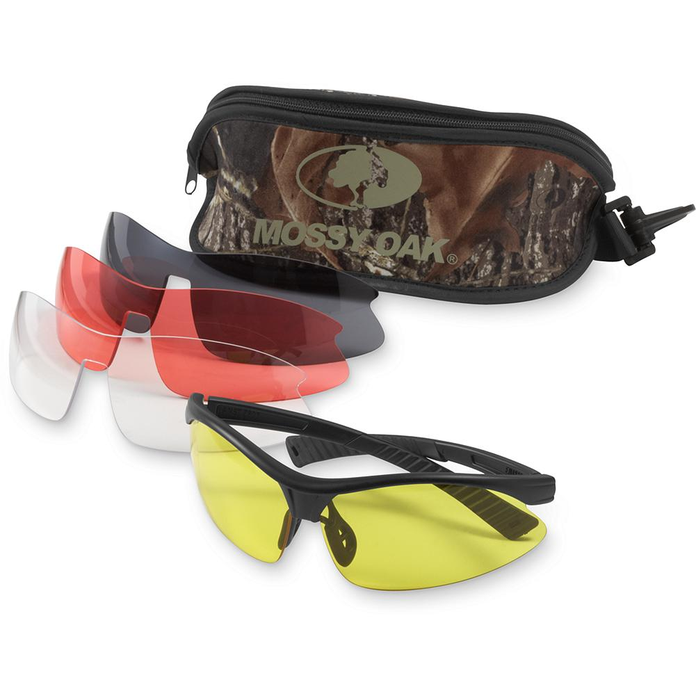 Hunting Eddie Bauer Mossy Oak Belzoni Shooting Glasses - Reliable and weightless eye protection for hunting and shooting. Mix it up with this four-lens combo set. Impact-resistant polycarbonate lenses with soft rubber temple and nose piece. Exceeds ANSI safety standards and filters out 99% of harmful UV rays. Includes Break-Up camo carrying case. Imported. - $19.99