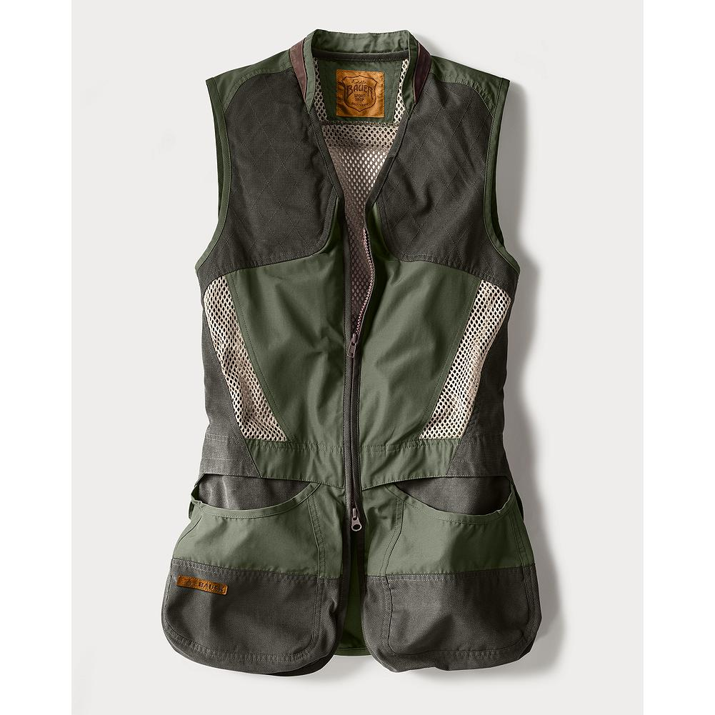 Entertainment Eddie Bauer Clay Break Shooting Vest - Our lighter-weight shooting vest. Designed as a functional, entry-level alternative for sporting clays, trap, and skeet. Overlay quilted shooting patches for left or right hand shooters. Removable spacer mesh recoil pad. Bellows shell pockets have overlay where you need it most. vislon synthetic zipper. Easy-access rear hull pocket. Mesh upper back and front mesh panels for ventilation. Side adjust waist. Leather collar stand. Women's specific design and fit. Imported. - $99.00