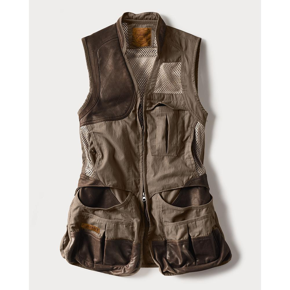 Hunting Eddie Bauer Clay Break Premium Shooting Vest - Eddie Bauer opened his first Sport Shop in 1920 with one goal: to outfit American sportsmen and sportswomen in the finest gear. We've returned to this tradition with the next generation of hunting, fishing, and shooting apparel. Our top-of-the-line vest features a leather quilted shooting patch (right hand only) and removable air mesh recoil pad. Mesh upper back with front mesh panels. Easy-access rear hull pocket. Double front bellows shell pockets with leather overlay. Leather abrasion patches at pocket entries. Front bellows chest pocket. vislon zipper. Leather collar stand. Women's specific design and fit. Imported. - $179.00