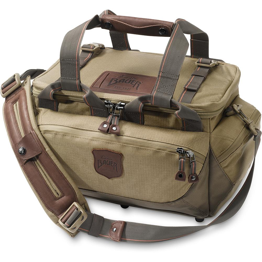 Hunting Eddie Bauer Adventurer Range Bag - Keep all your hunting essentials well-organized and close at hand. Holds up to 22 boxes of 12-gauge shells. End pockets for choke tubes and extra pockets and compartments to hold eye and ear protection. Padded shoulder strap with clips on top to hold jacket if necessary. Imported. - $119.00