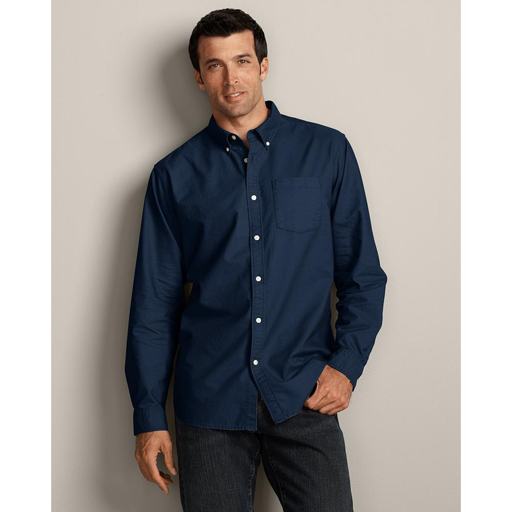 Eddie Bauer Classic Fit Legend Wash Oxford Shirt - Solid - This button-down classic is made of cotton oxford cloth and treated with our exclusive Legend Wash for exceptional softness. Our new Classic fit is comfortable for most men, sitting near the body without any constriction. Like all our new fits, it's been reengineered for maximum comfort and easy movement, with back pleats, slightly larger sleeves at biceps/forearms, slightly deeper armholes, ample body length, and a comfortable neck. (Please see Men's Size Chart for more information.) - $14.99