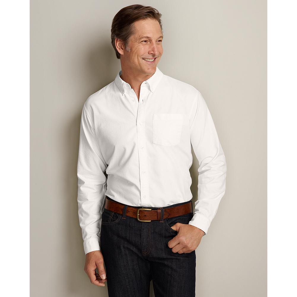 "Eddie Bauer Slim Fit Legend Wash Oxford Shirt - Solid - This classic oxford shirt is made of cotton and treated with our exclusive Legend Wash for exceptional softness. Our new Slim fit is our trimmest, proportioned for a modern look that's 2"" slimmer through the chest than our Classic fit. Like all our new fits, it's been reengineered for maximum comfort and easy movement, with back pleats, slightly larger sleeves at biceps/forearms, slightly deeper armholes, ample body length, and a comfortable neck. (Please see Men's Size Chart for more information.) - $14.99"