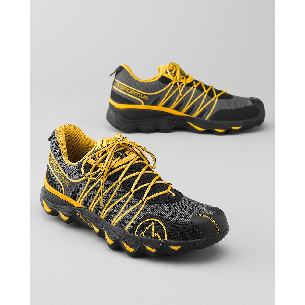 Fitness Eddie Bauer La Sportiva Quantum Trail Shoes - La Sportiva's lightweight, synthetic trail shoes feature MorphoDynamic technology which adapts to the trail, providing a well-cushioned ride and protection from impact forces. Slip-lasted, ergonomic upper provides a responsive, glove-like fit. Polyurethane and EVA midsole work in tandem to absorb impact. FriXion AT rubber sole. Imported. - $59.99