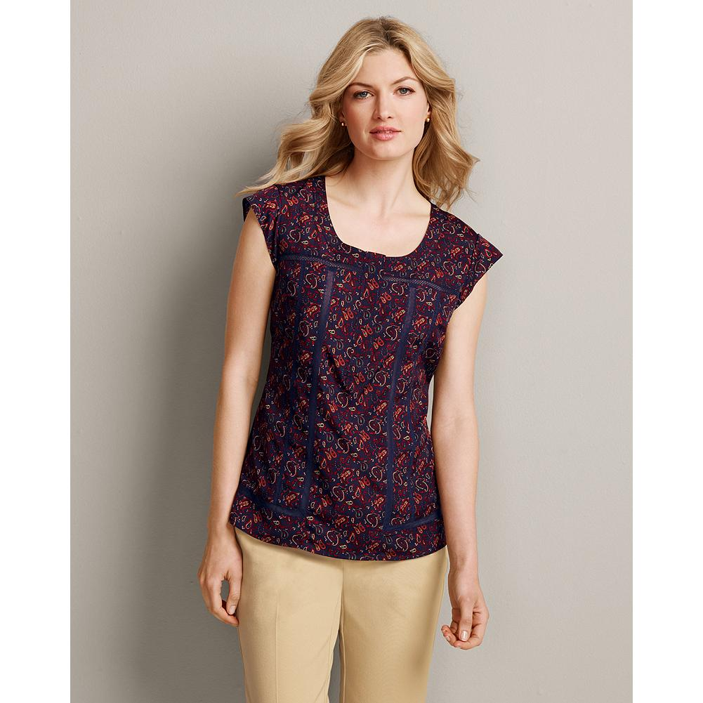 Eddie Bauer Short-Sleeve Printed Lace-Inset Shirt - Inspired by vintage underpinnings, our printed lace-inset shirt is made of silky crepe de chine and delicately detailed with lace accents and cap sleeves. Classic fit. Imported. - $29.99