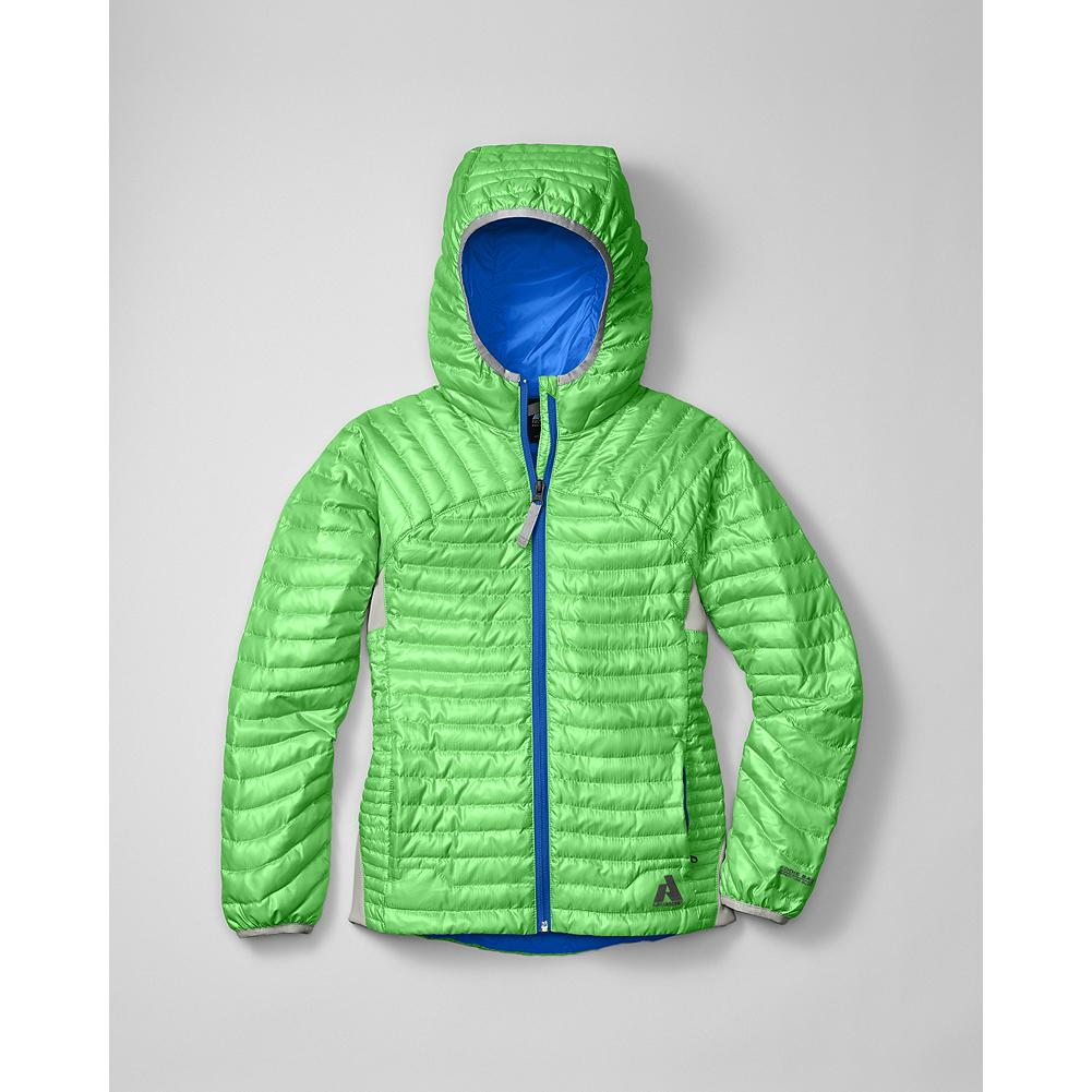 Eddie Bauer Girls' MicroTherm(TM) Down Hoodie - Mountain Guide in Training(TM) An incredibly thin and lightweight hoodie with 600 fill Premium European Goose Down to keep your little adventurer cozy and warm. Nylon shell. Stretch back panels for ease of movement. Zippered front pockets. - $39.99