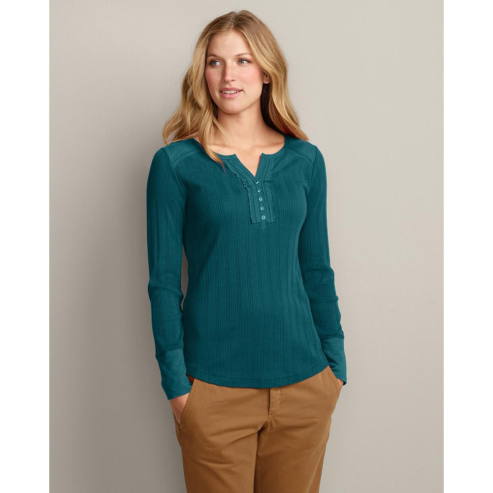 Eddie Bauer Long-Sleeve Pointelle Split-Neck Henley - Add dimension to your style with this split-neck henley's subtly textured pointelle rib and slub jersey accents. Cotton ladder trim, metal buttons and side slits. Shaped fit. Ribbed cotton/polyester. Imported. - $19.99