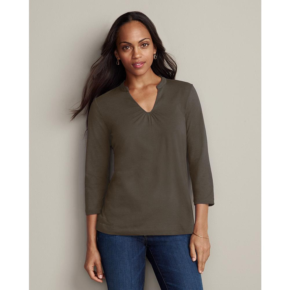 Eddie Bauer Mandarin Notch-Neck T-Shirt - We've updated a wardrobe staple with a mandarin collar, notched neckline and 3/4-sleeves. Small gathers create feminine drape. Classic fit. Imported. - $9.99