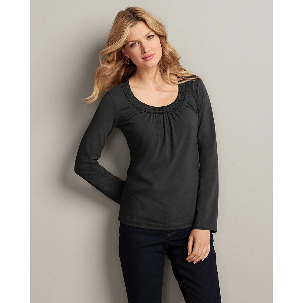 Entertainment Eddie Bauer Long-Sleeve Gathered T-Shirt - Texture and smocking details create a dress-casual look that's easy to pair with skirts or pants, layer or wear alone. Gathers at bottom of neckline elevate this t-shirt's feminine allure. Classic fit. Imported. - $9.99