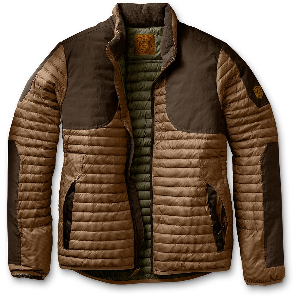 "Hunting Eddie Bauer MicroTherm(TM) Featherweight Hunting Jacket - A Field & Stream Best of the Best: 2012 Hunting Gear Award Winner. This unique jacket was derived from the patent-pending down layer in our First Ascent(TM) line of technical apparel, with narrow horizontal quilting for mid-weight warmth.  ""Originally designed for mountaineers..it was refined for hunters with the addition of a fleece-lined collar, a water-repellant coating, and durable Cordura overlays. The stretch panels flex when you do, whether mounting a rifle or scaling cliffs."" -Field & Stream - $219.00"