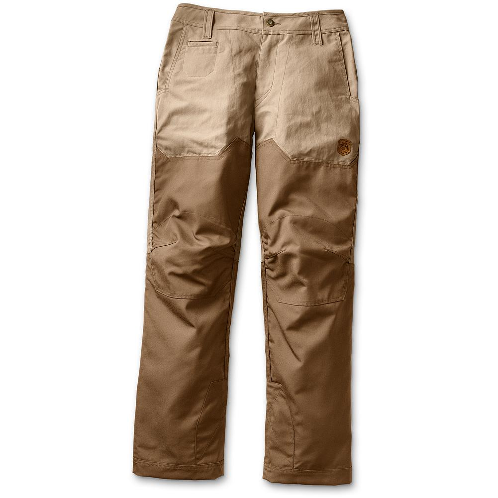 Hunting Eddie Bauer Methow Valley Upland Pants - Our medium weight upland pants feature Eddie Bauer Expedition Cloth base with CORDURA overlays on front and lower backside below the knee. These pants offer up a great late-season option, and are just the thing that Eddie would use today for dog training if he had a wet Labrador at heel. Articulated knees for comfort, overlay at the instep to avoid boot wear and five pockets. Imported. - $139.00