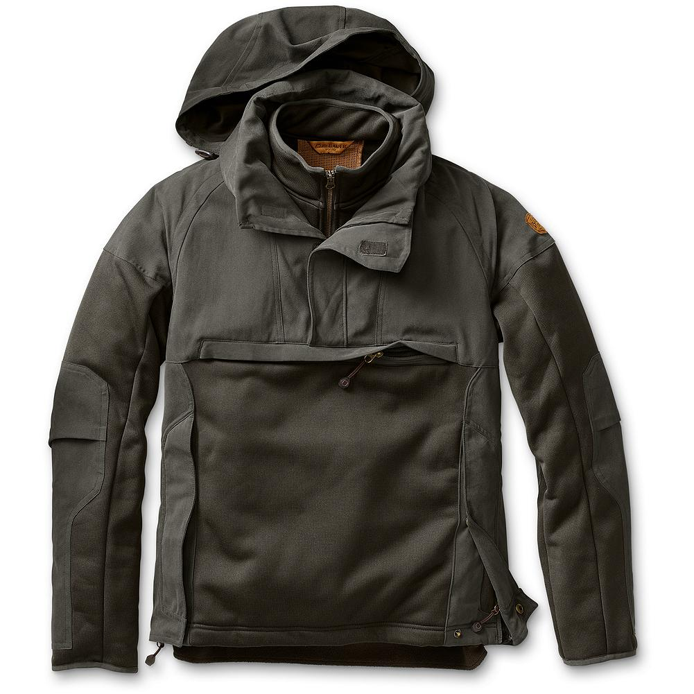 Camp and Hike Eddie Bauer Selkirk Mountain Pullover - The one piece you grab to hike that extra thousand feet in pursuit of Canadian border whitetails. Pullover has fleece interior; polyester/nylon overlay at cape, forearms, and hood. Hood easily rolls into the collar, and articulated elbows provide for freedom of movement. Zips on each side for easy on and off. Large front pocket is big enough to hold a bag of trail mix or grunt call. Imported. - $124.99