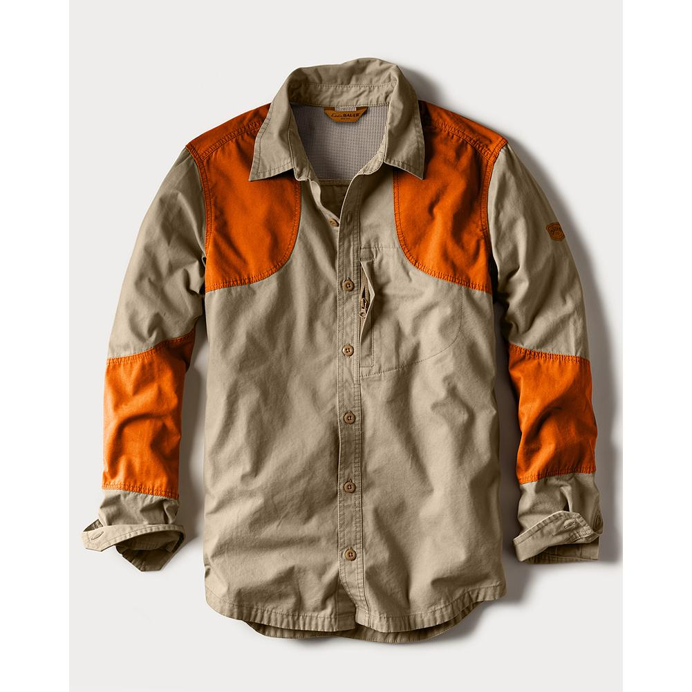 Hunting Eddie Bauer Okanogan Hunting Shirt - Blaze - A great canvas hunting and shooting shirt made with heavier-weight cotton, this durable construction survives everything from brush and dirt to extended wear. Shooting patch overlays for left or right hand; forearm gun overlays resist abrasion. Small zip pocket stows essential items. Breathable weave keeps brush at bay and the mesh vented back keeps the hunter cool and comfortable. Cotton. - $89.95