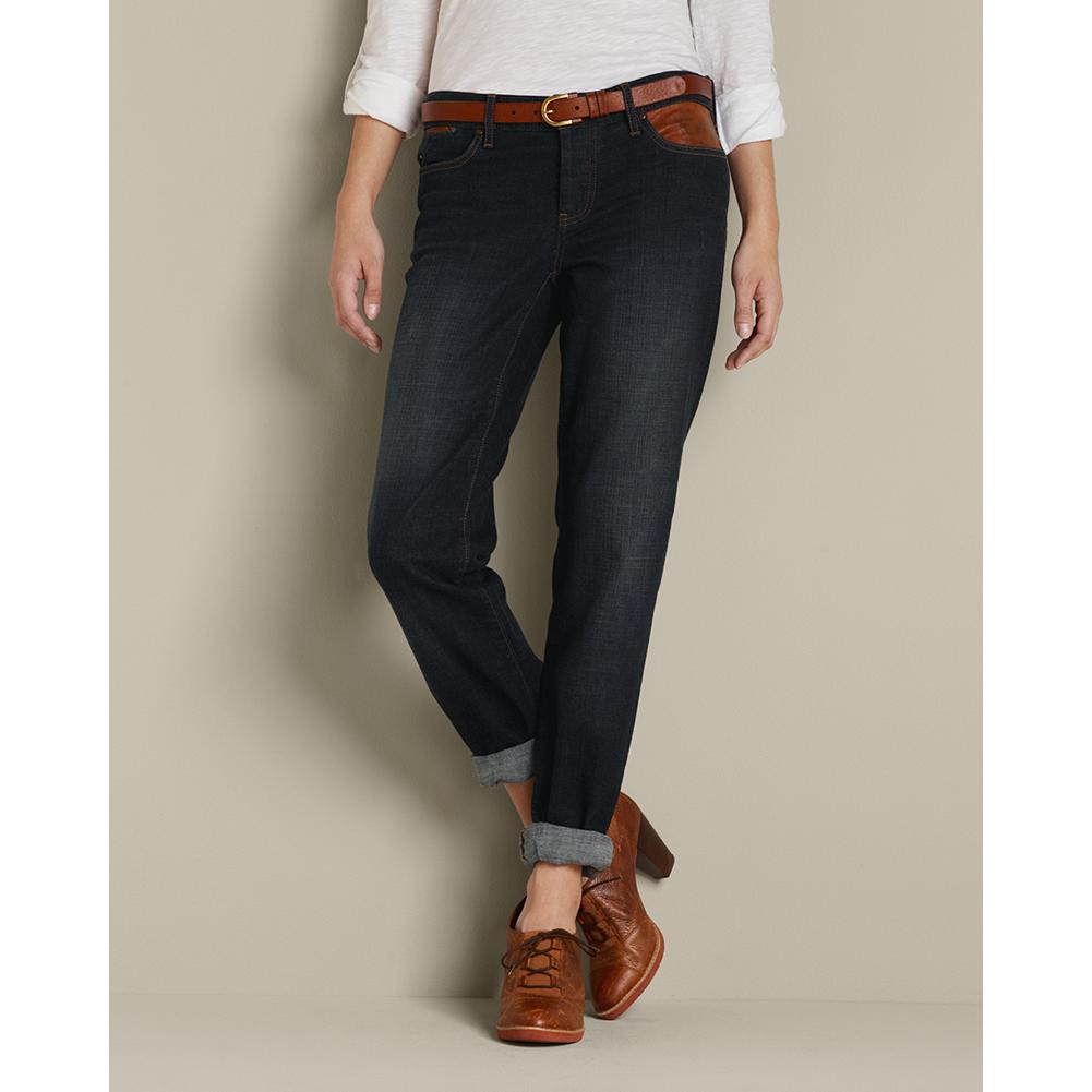 Entertainment Eddie Bauer Boyfriend Leather Trimmed Jeans - Sits below natural waist. Relaxed hip and thigh. Caramel leather details at the pockets give this easygoing fit a more dress-casual style. Dark wash is dry-processed for a genuine broken-in look and feel. Imported. - $69.99