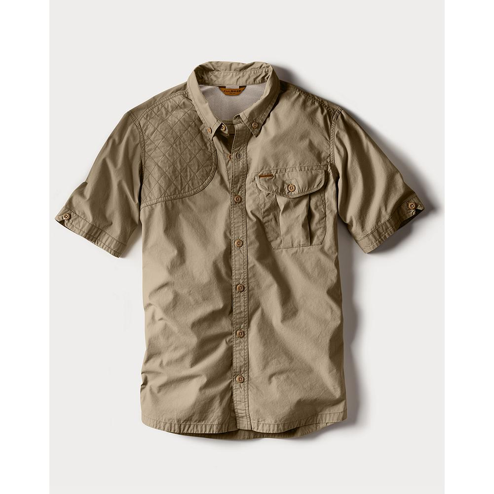 Hunting Eddie Bauer Palouse Short-Sleeve Shooting Shirt - Our cotton shooting shirt. Eddie would wear this today while early-season upland hunting. Button-down collar. Mesh vented back. Diamond quilt stitched overlay on right shoulder. Bellows style left chest pocket. Gusseted underarms. Unique, dense but still breathable weave that keeps brush at bay and the user cool and comfortable. Imported. - $59.95