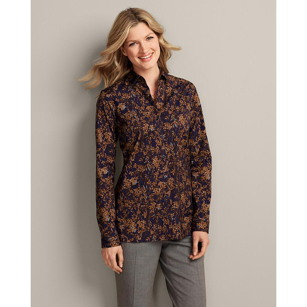 Eddie Bauer Wrinkle-Free Long-Sleeve Pattern Tunic - Our easygoing, easy-care tunic is made of breathable cotton stretch fabric for exceptional comfort and excellent shape retention. - $29.99