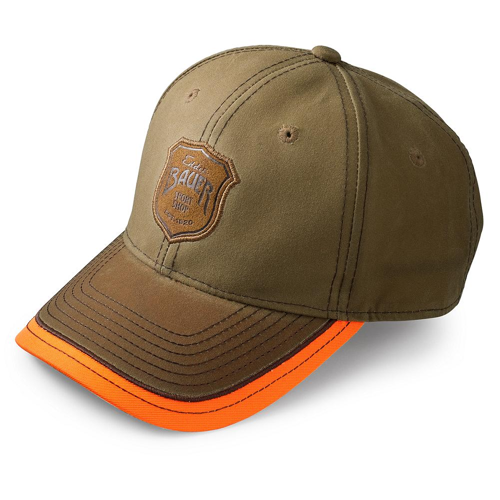 Hunting Eddie Bauer 1920 Waxed Cap - Eddie Bauer opened his first Sport Shop in 1920 with one goal: to outfit American sportsmen and sportswomen in the finest gear. We've returned to this tradition with the next generation of hunting, fishing, and shooting apparel. This handsome waxed cap with its blaze orange trim will help shield your face from the elements wherever the day takes you. Eddie Bauer Sport Shop logo adds the ideal finishing touch. Imported. - $19.95