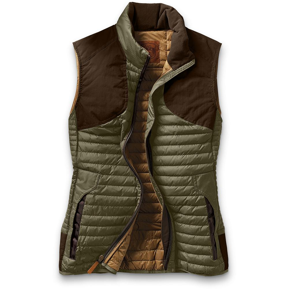 Hunting Eddie Bauer MicroTherm(TM) Featherweight Hunting Vest - Specifically designed and fitted for women, our featherweight vest is the lightest, warmest hunting layer we've ever built. Derived from our First Ascent(TM) patent-pending down. Horizontal quilting. Zip handwarmer pockets. 800 fill Premium European Goose Down. 40-denier ripstop nylon shell with CORDURA nylon overlay and DWR finish; polyester. Imported.  Note: This Microtherm vest is designed to allow for layering underneath so it is slightly roomier in the chest and body.               Watch Product Demo - $99.99