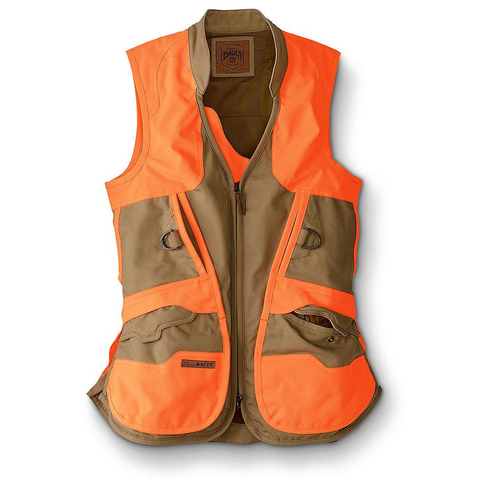 Hunting Eddie Bauer Mabton Flats Vest - A perfectly fit yet fully technical women's vest, this design is what Stine Bauer would wear today while in the scrub of Eastern Washington searching for game birds. It is built with water-repellent CORDURA fabric in body and overlays to let you push through wild rose and briars. Coated, nylon-lined bellows game bag big enough to hold a brace of ringnecks; zips closed. Shell pockets with tuck-in flaps and internal transmitter pockets. Side vents for easy movement. Cotton / CORDURA nylon shell and 530-denier CORDURA polyester overlays. Durable, water-resistant (DWR) finish. Imported.               Watch Product Demo - $199.00