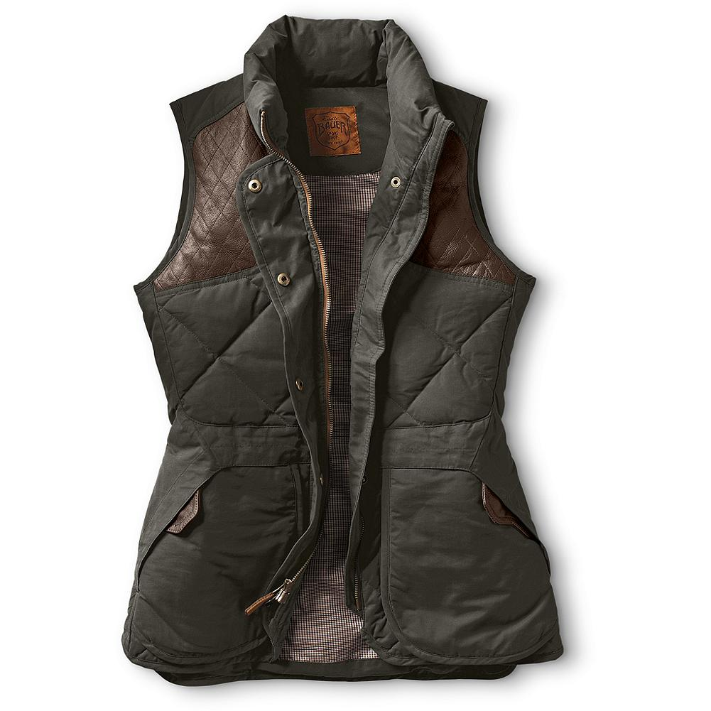Hunting Eddie Bauer 1936 Skyliner Hunting Model Vest - A truly functional outdoors vest, with universal appeal. A remake of our patented, all-around original Skyliner, but specifically designed for, and fit to, women. Combines field-focused features such as a rear game/hull pocket, leather-topped shell pockets and leather-quilted shooting patches with nods to our past such as the signature Eddie Bauer diamond-quilt design. Imported.               Watch Product Demo - $199.00