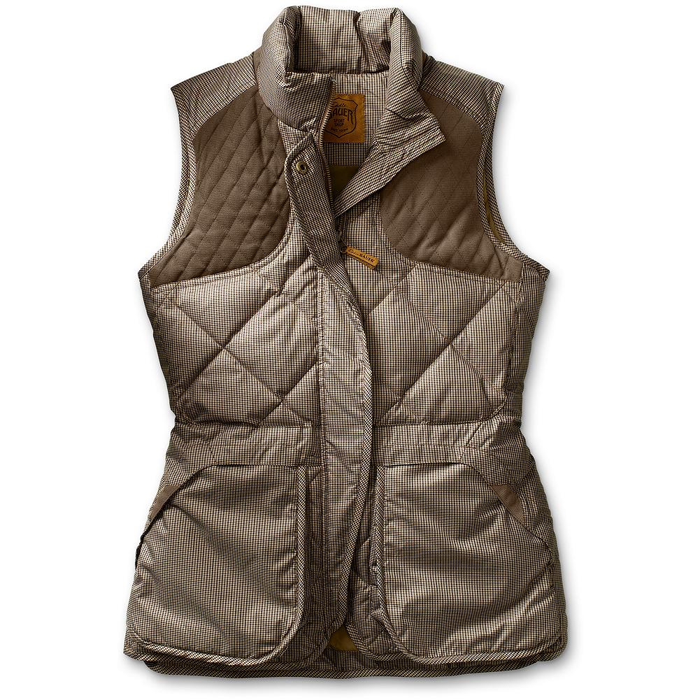 Entertainment Eddie Bauer 1936 Skyliner Hunting Vest - Patterned - A truly functional outdoorswoman vest, with universal appeal. A remake of our patented, all-around original Skyliner with bellows shell pockets that fit a box of shells. Interior zippered security pocket safely holds a wallet and a key. Zipper-covering placket protects gun stock. 550 fill Premium European goose down traps heat, while signature 3.5-inch diamond quilting provides balanced all over warmth. Imported. - $199.00