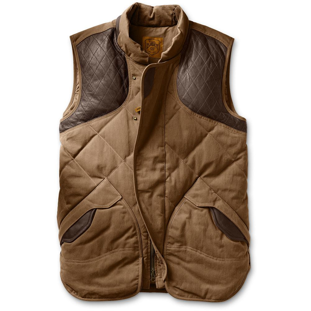 Entertainment Eddie Bauer 1936 Skyliner Hunting Model Expedition Cloth Vest - Based on the original down jacket that built the Eddie Bauer brand, this vest is made from tough seven-ounce expedition cloth and provides reliable warmth in cold conditions. 550 fill Premium European goose down traps heat, while leather quilted shooting patches and bellowed leather-topped shell pockets provide function when hunting. Interior zippered security pocket safely holds a wallet or a truck key. Zipper-covering placket protects gun stock. Leather collar stand. Signature 4-inch diamond quilt. - $249.00