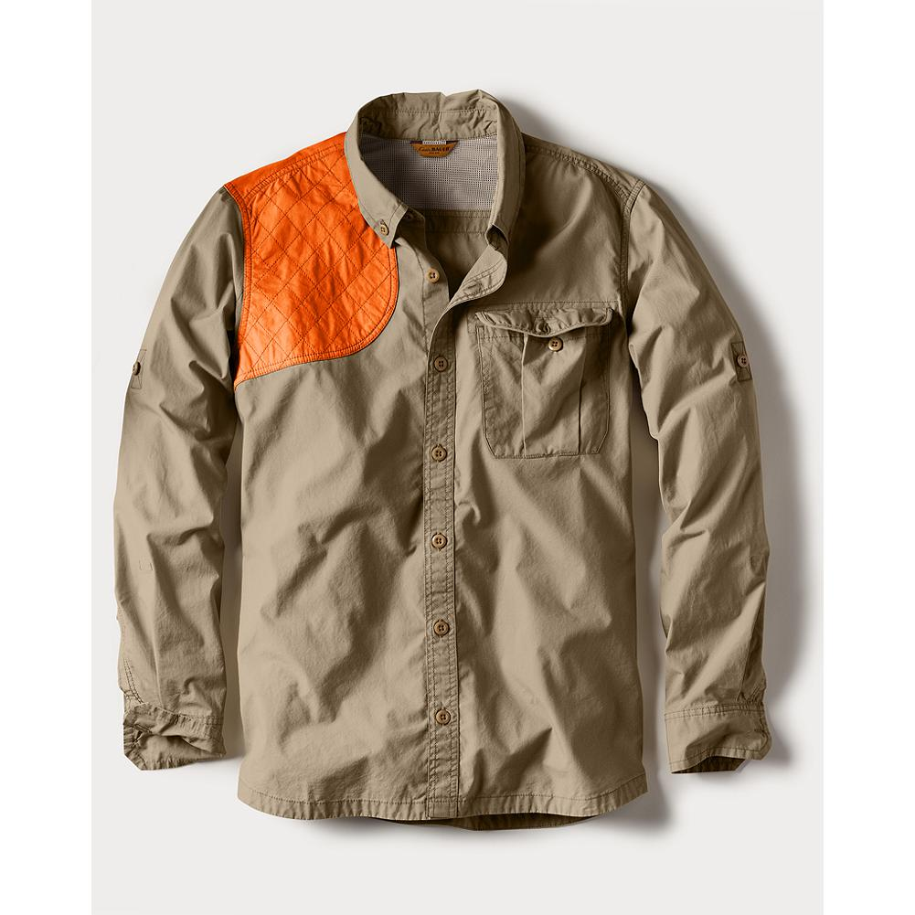 Hunting Eddie Bauer Palouse Long-Sleeve Hunting Shirt - This cotton shooting shirt is perfect for early-season upland hunting. Its unique, dense but still breathable, weave keeps brush at bay and the user cool and comfortable. Button-down collar. Mesh-vented back. Quilted orange overlay on right shoulder. Bellows-style left chest pocket. Gusseted underarms. Imported. - $69.95