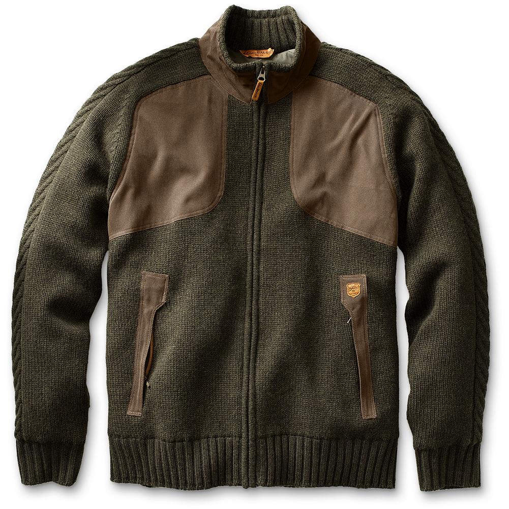 Hunting Eddie Bauer Toppenish Full-Zip Field Sweater - This windproof field piece combines the natural insulating qualities of Merino wool with a water-repellant, windproof polyester liner that repels the outside elements. The warm style easily transitions from field use to in-town function due its timeless traditional appearance. Fabric overlaid shooting patches at yoke and elbows. Cable knit sleeve details. Water-repellent, breathable, windproof liner. Merino wool/polyester/nylon; 30-denier polyester lining. Imported. - $149.99
