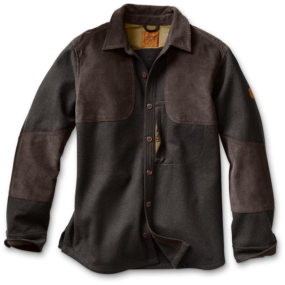 Hunting Eddie Bauer Okanogan Wool Hunting Shirt - A great overall wool-blend hunting and shooting shirt. Corduroy shooting patch overlays and forearm gun abrasion overlays. Small zippered front security pocket. Imported. - $149.00