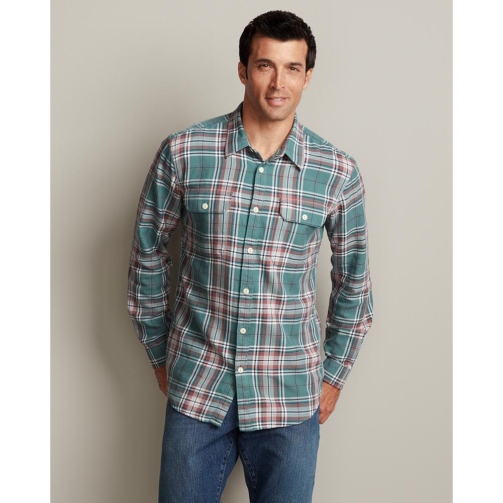 Eddie Bauer Classic Fit Rancher Twill Shirt - Plaid - A customer favorite for good reason, our rugged Rancher Twill Shirt is made of substantial cotton and garment-washed for the broken-in comfort and softness of an old favorite from day one. Our new Classic fit is comfortable for most men, sitting near the body without any constriction. Like all our new fits, it's been reengineered for maximum comfort and easy movement, with back pleats, slightly larger sleeves at biceps/forearms, slightly deeper armholes, ample body length, and a comfortable neck. (Please see Men's Size Chart for more information.) - $14.99