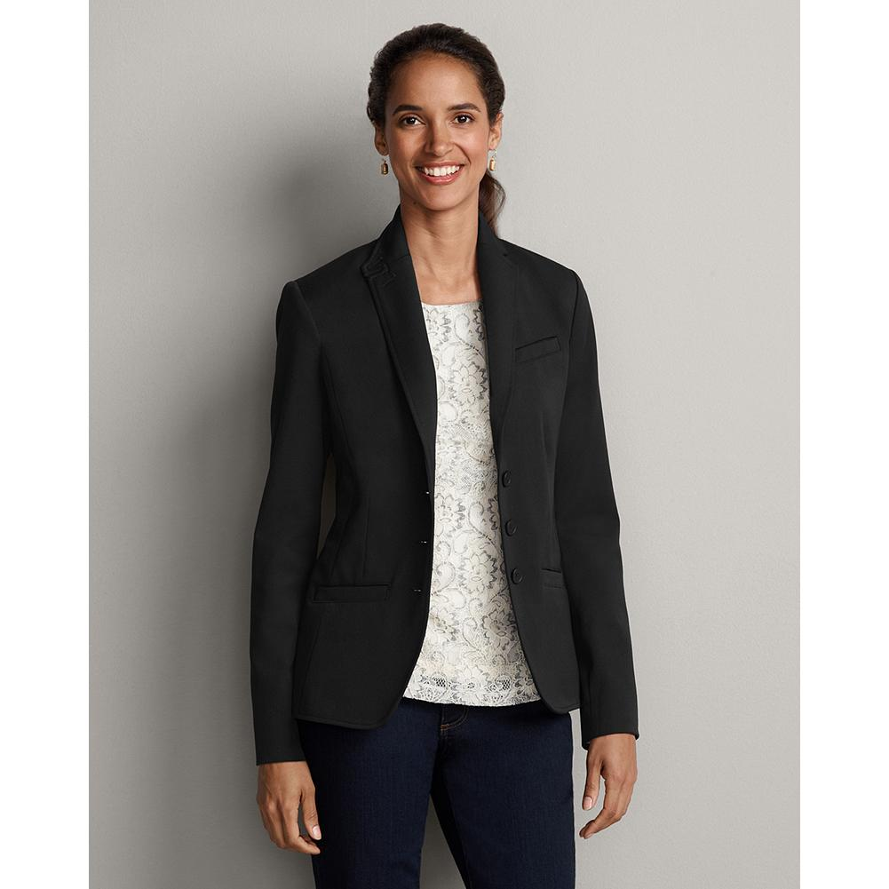 Eddie Bauer Signature Stretch Blazer - Part of our impeccable stretch collection, our signature blazer is updated with back-vent and cuff buttons, a tailored collar, and a new, longer length. - $49.99