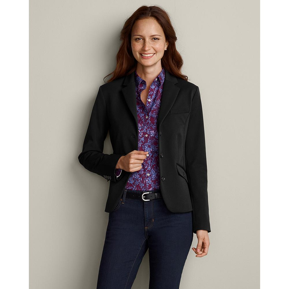 Eddie Bauer Classic Stretch Suiting Blazer - Solid - Refined,mid-weight fabric and impeccable styling make this tailored blazer, the one you'll reach for again and again this season--and beyond. Fully lined with interior contrast piping detail. Functional buttons at cuffs. Chest pocket; two button-closure front pockets. Imported. - $49.99