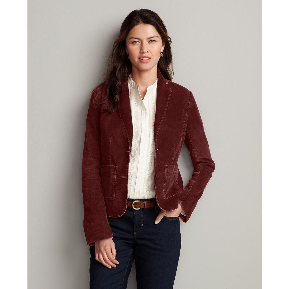 Eddie Bauer Corduroy Blazer - A versatile fall staple, our soft corduroy blazer is made of 18-wale corduroy and pairs well with our denim, Legend Wash or ShapeStretch pants. A unique dye process makes colors stand out. Antiqued buttons. Patch pockets. Cotton/spandex. Imported. - $19.99