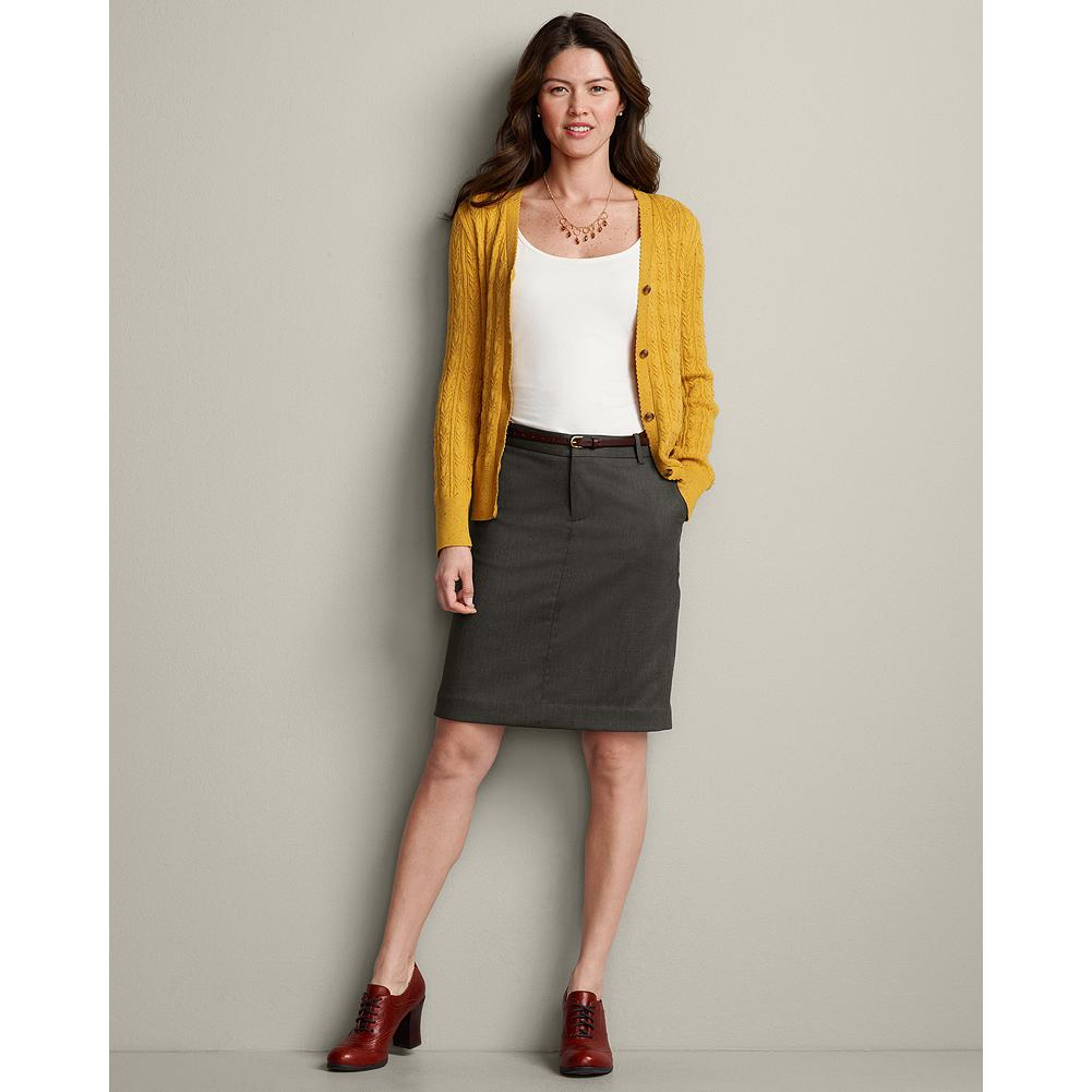 Eddie Bauer Wool Gabardine Trouser Skirt - Made of a high-quality blend of 98% wool and 2% spandex, our sleek pencil skirt is perfect in any season and pairs well everything from a feminine blouse to a tailored blazer. - $49.99