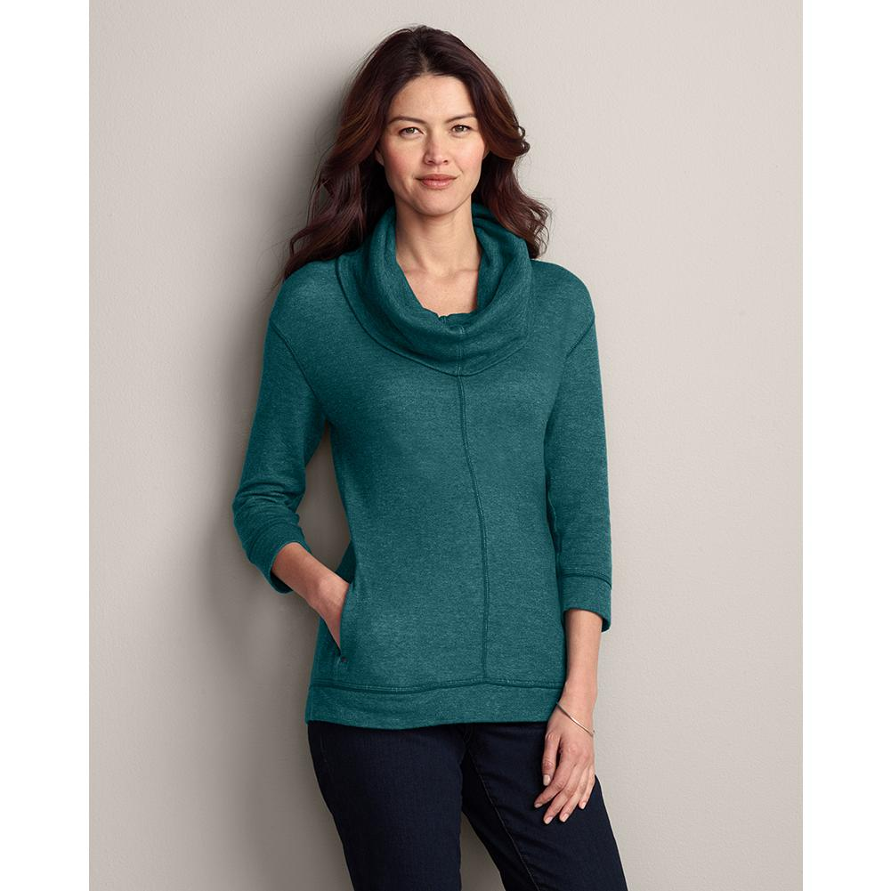 Eddie Bauer Marled Double-Layer 3/4-Sleeve Funnel Pullover - Cozy and easy-fitting, this 3/4-sleeve funnel pullover is made of supersoft, double-layer cotton and marled for gentle texture. Dropped shoulders; side pockets. Back seam detail. Imported. - $19.99