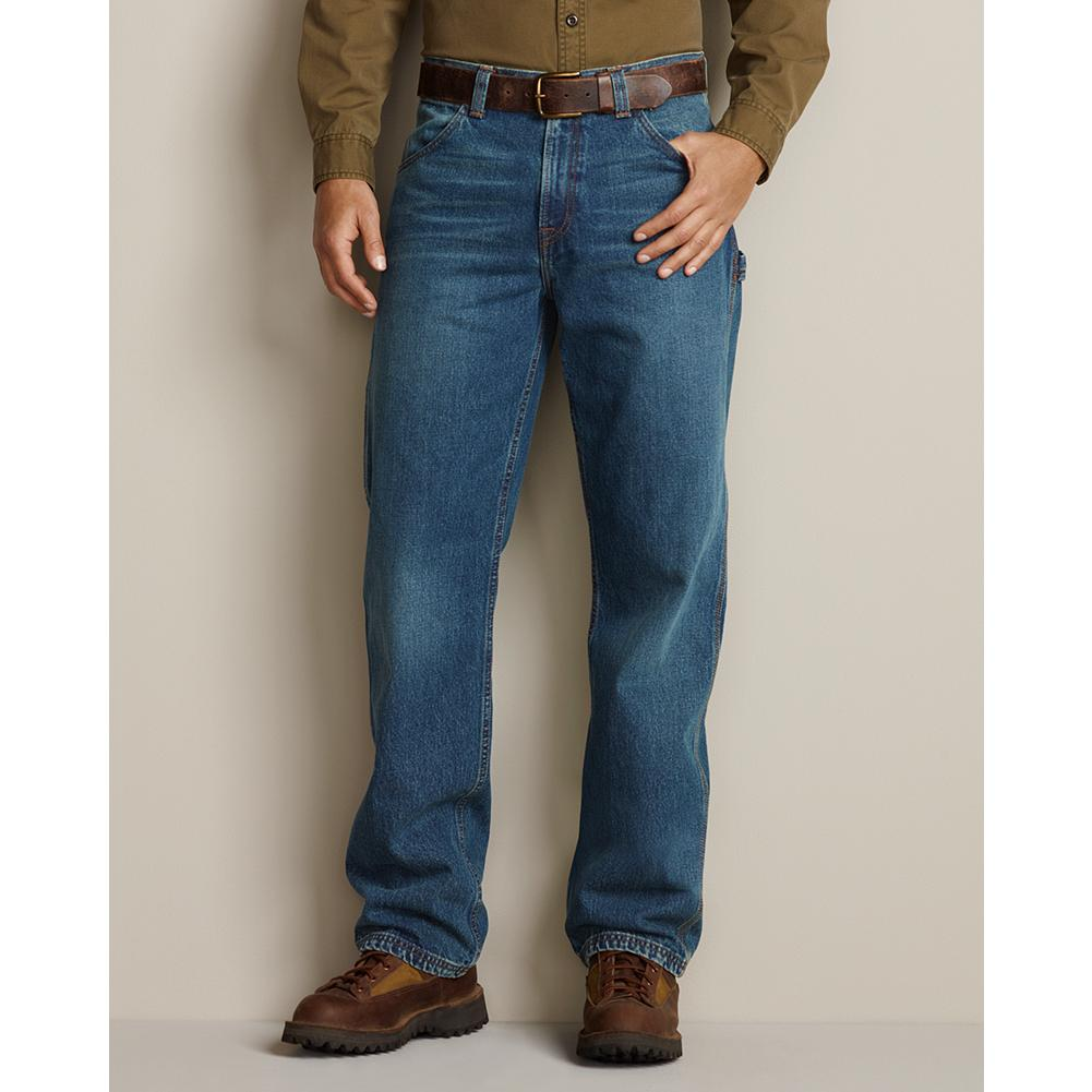 Eddie Bauer Loose Fit Carpenter Jeans - Carpenter jeans with mitered workwear and leg utility pockets -- plus a hip coin pocket. Slightly tapered leg. Loose fit. Imported. - $49.99