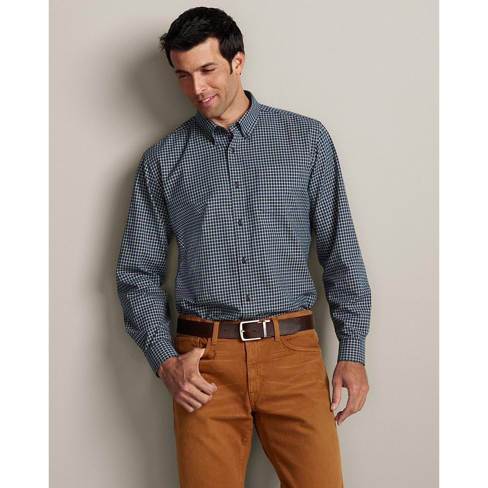 "Eddie Bauer Relaxed Fit Signature Twill Shirt - Pattern - An all-season customer favorite, our hard-wearing twill shirts come in classic sportsman plaids and feature classic styling with a single chest pocket and button-down collar. Even after 20 washes, our supremely soft, 100% cotton Signature Twill Shirts topped our competitors in shrinkage resistance and color retention. Proof that you can rely on their ruggedness, comfort, and premium quality for a lifetime.  Our new Relaxed fit is our most generous one, a roomy 2"" fuller through the chest than our Classic fit. Like all our new fits, it's been reengineered for maximum comfort and easy movement, with back pleats, slightly larger sleeves at biceps/forearms, slightly deeper armholes, ample body length, and a comfortable neck. (Please see Men's Size Chart for more information.) - $19.99"