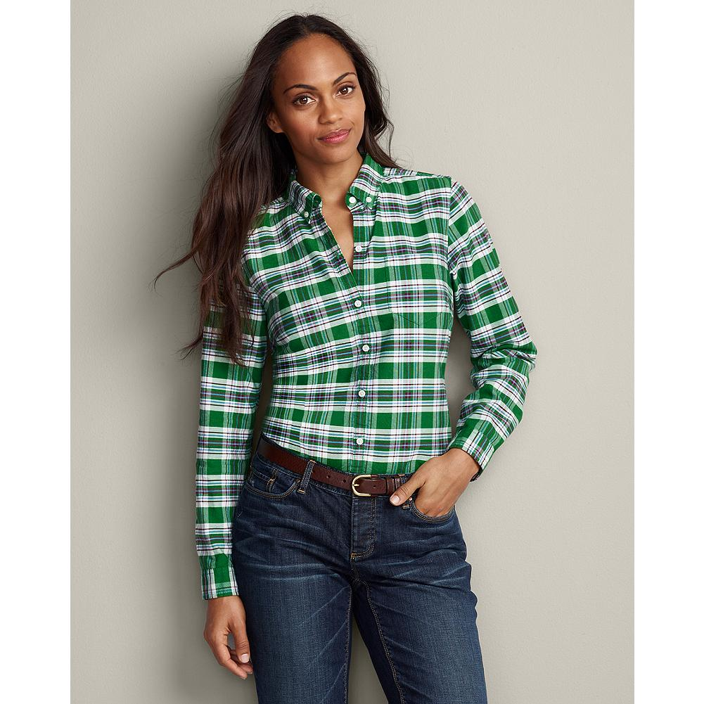 Eddie Bauer Long-Sleeve Plaid Oxford Button-Down Shirt - Our casual oxford shirt is made of soft cotton in vibrant plaids that are perfect for the season. Two back seams provide feminine shaping. Button-down collar and chest pocket. Shaped fit. Imported. - $14.99