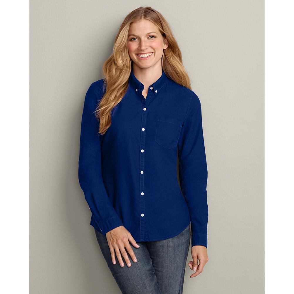 Eddie Bauer Long-Sleeve Button-Down Oxford Shirt - Our casual oxford shirt is made of soft cotton in rich shades that are perfect for the season. Two back seams provide feminine shaping. Button-down collar. Chest pocket. Shaped fit. Imported. - $14.99